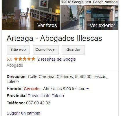 Así aparece Arteaga - Abogados Illescas en Google